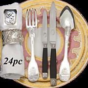Antique French Louis XVIII Era Sterling Silver 24pc Dinner Flatware Set, Crown Armorial Heraldry