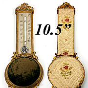Antique French Wall Mount Thermometer & Watch or Jewelry Pin Cushion Mount, c.1850s with Angels