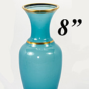 """Beautiful Antique French 8"""" Tall Blue Opaline Vase or Decanter, Carafe"""