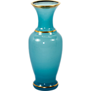"Beautiful Antique French 8"" Tall Blue Opaline Vase or Decanter, Carafe"