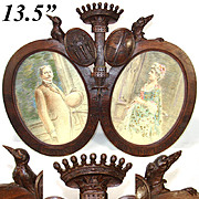 Antique Hand Carved French Armorial Frame, Crown, Dog, Crow and Crests, 2 Artist Signed Portrait Drawings