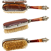 Unusual Antique Banded Agate Hair Brush, Compact Combo, c.1800s - L@@K