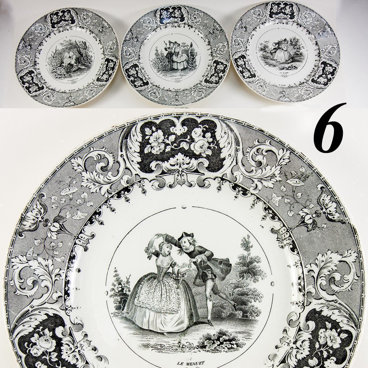 Set: 6 Antique Cabinet or Dessert Plates, French Story Plates, B&W, Milliet Creil-Montereau faience