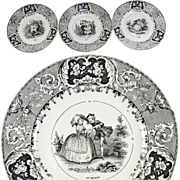 Set: 6 Antique Cabinet or Dessert Plates, French Story Plates, B&W, Milliet Creil-Montereau faience