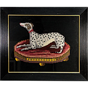 Fine Vintage English Victorian Style Needlepoint of a Dog, Dalmation, in Antique Frame