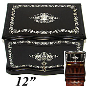 "Rare Antique French 12"" Tantalus Style Cigar Chest or Box, Ebony w/ Ornate Inlay & Rosewood Interior"