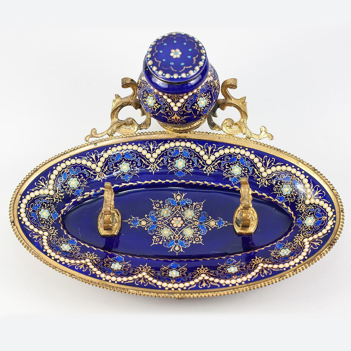 Antique French Kiln-fired Bresse Enamel Inkwell, Ink Well, Ink Pot, Cobalt Blue, Jewel Dots