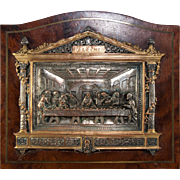 Antique Cast Bronze Grand Tour Souvenir, Leonardo Da Vinci's Last Supper, Silver Plate and a Fine Wood Frame