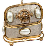 Charming Little French Antique Jewelry Casket, Mother of Pearl Half Egg Shells on Ormolu, Palais Royal