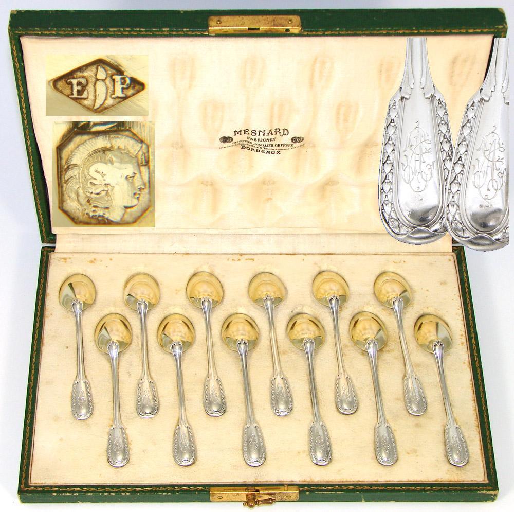 Elegant Antique French PUIFORCAT Sterling Silver & 18k Gold Vermeil 12pc Teaspoon Set, Orig. Box