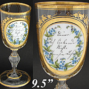 "Antique Bohemian 9.5"" Cut Glass Goblet, Layered Glass Medallion, HP Floral & Gold Enamel"