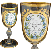 "Antique Bohemian 9.5"" Cut Glass Goblet, Layered Glass Medallion, HP Floral & Gold Enamel"