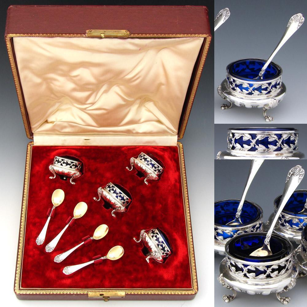Antique French Sterling Silver & Cobalt Glass 4pc Open Salt Set w/ Spoons & Original Box