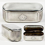 Antique French Sterling Silver Snuff or Patch Box, 19th C. Guilloche, Monogram