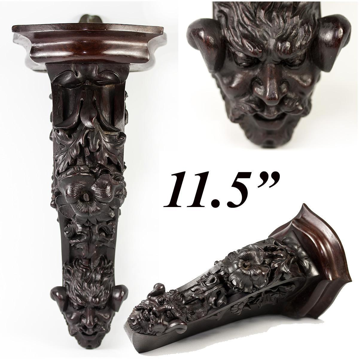 Unique Antique French Hand Carved Wood Figural Corner Bracket Shelf, Adapted