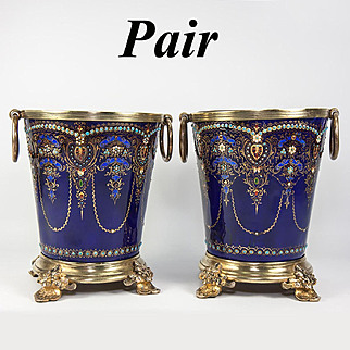 RARE Antique French (Bressen) Kiln-fired Enamel Cache Pot Pair, 2 Jardiniere, Bresse Jeweled
