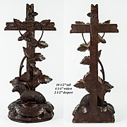 "Antique Hand Carved Black Forest Crucifix and Holy Font, with Lamb, 10.5"" Tall"