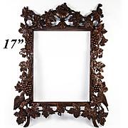 """Superb 17"""" Hand Carved Antique Black Forest or French Frame, Birds and Grapes, Fruit, Urn & Leaves, Vines"""