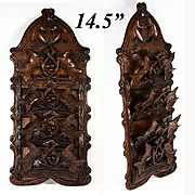 Antique Hand Carved Black Forest Wall Plaque, Letter and Stationery Holder