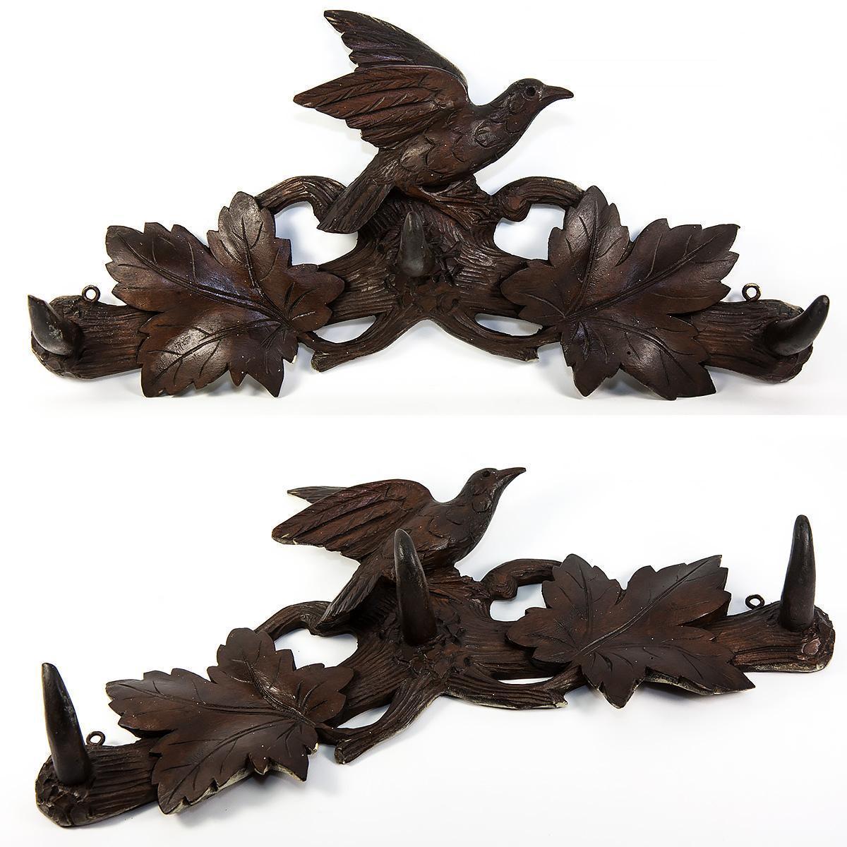 """Antique Hand Carved Black Forest 16.5"""" Crop or Hat Rack, Bird and Oak Leaves, 3 Hooks"""