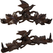 "Antique Hand Carved Black Forest 16.5"" Crop or Hat Rack, Bird and Oak Leaves, 3 Hooks"