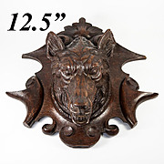 "Antique Hand Carved Black Forest Wall Plaque, 12.5"" w RARE Wolf Head"