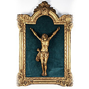 "Antique 1700s Hand Carved French Christ Figure and Alter Crucifix, 19.5"" Frame, 10"" Christ"
