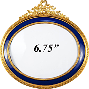 "Antique French Dore Bronze & Cobalt Blue Enamel Mat Bow Top Frame, 6.75"" Oval, Napoleon III"