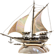 Charming Antique French Mother of Pearl Sail Boat, Ship, Double Inkwell, Ink Well