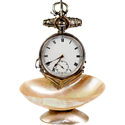 Antique French Grand Tour Souvenir Pocket Watch Stand, Mother of Pearl with Anchor