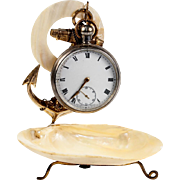 Antique French Mother of Pearl Shell & Anchor Pocket Watch Stand, c.1850s