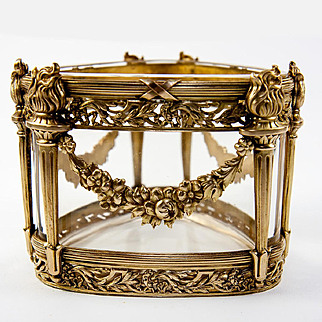 Antique French Empire Triangular Form Baccarat Crystal & Dore Bronze Vase or Serving Dish, Torches