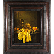Vintage Oil Painting, A Dutch Master Look-alike Still Life in Charming Frame, W. Eraylow, artist