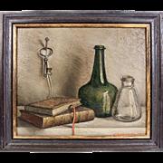 Charming Antique Oil Painting, Still Life, Signed by Dutch Artist, A. Vanderveken, in Frame