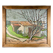 Antique Oil Painting, En Provence, France, a Landscape, Impressionist, Signed Paul DUPRE', 1919