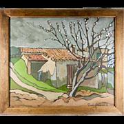 Antique Oil Painting, En Provence, France, a Landscape, Impressionist, Signed Paul DUPRE', 1919