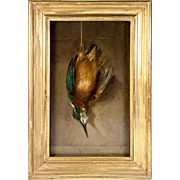 Hunt Theme Still Life, c.1831 Oil Painting, French Artist Signed: 1831, H.Dumont, Trompe L'oeil, in Frame #1
