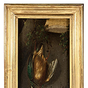 Hunt Theme Still Life, c.1831 Oil Painting, French Artist Signed: 1831, H.Dumont, Trompe L'oeil, in Frame #2