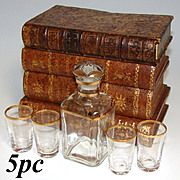"Antique French ""Leather-Bound Books"" Liquor or Liqueur Tantalus, Box: Decanter, 4pc Shot Glasses"