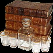"""SALE Antique French """"Leather-Bound Books"""" Liquor or Liqueur Tantalus, Box: Decanter, 4pc Shot ..."""