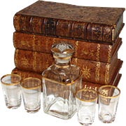 "Antique French ""Leather-Bound Books"" Liquor or Liqueur Tantalus, Box: Decanter, 4pc Shot Glasses"