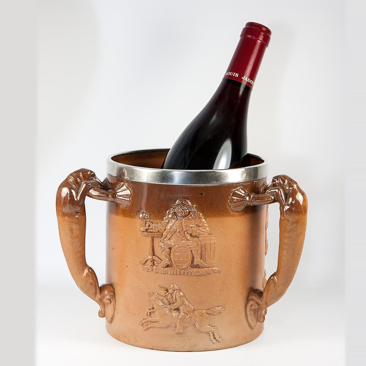 BIG Antique Mortlake or Doulton Lambeth Salt Glaze Pottery Wine Cooler, Sterling Silver Rim, Dog Handles, Dachshund, c.1881