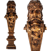 "Fine Hand Carved Antique Caryatid Figural Shelf Support, Furniture Salvage Portrait Corbel, 22.25"" Tall"