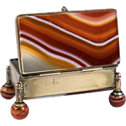 Antique Banded Agate Stamps Box, Casket, German or Russian Origin, Precision Made