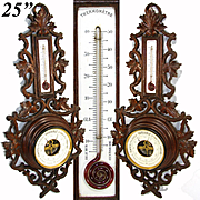 "Antique Victorian Era Black Forest Style Carved 25"" Wall Barometer & Thermometer"