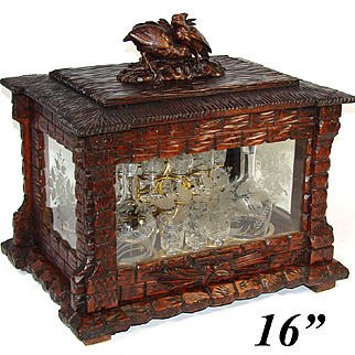 """Fine Antique Black Forest 16"""" Liquor Tantalus, Cave a Liqueur, Two Bird Figural Top, Thatched Chateau with Engraved Windows"""