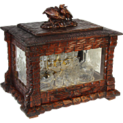 "Fine Antique Black Forest 16"" Liquor Tantalus, Cave a Liqueur, Two Bird Figural Top, Thatched Chateau with Engraved Windows"