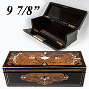Napoleon III Antique French Kingwood Marquetry Jewelry Casket, Glove or Document Box, Lock no Key