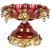RARE Antique French BonBon, Tazza, Cranberry Glass & Opaline, Ormolu Flowers, c.1830