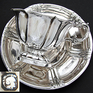 Antique French Sterling Silver Oversized Chocolate, Coffee or Tea Cup & Saucer Set, Unique Shaping